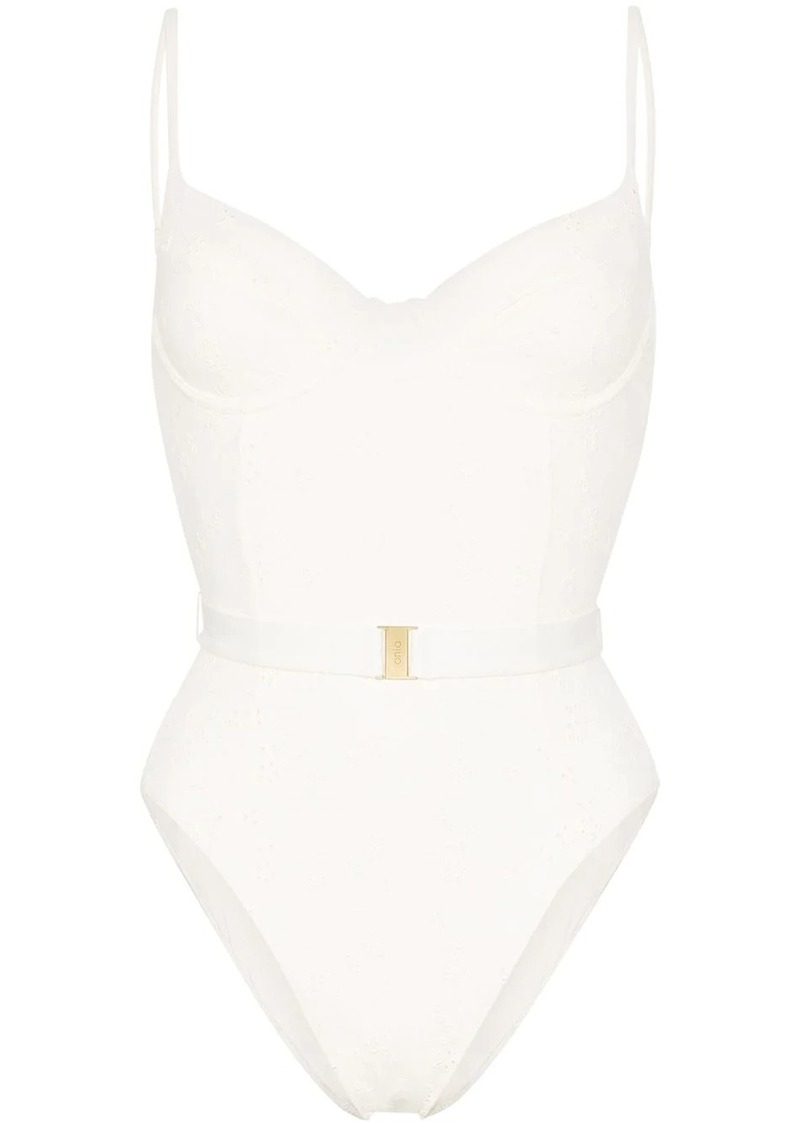 Onia Danielle broderie anglaise swimsuit