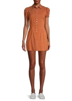 Onia Elle Polka Dot Puff-Sleeve Dress