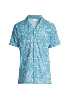 Onia Leaf-Print Stretch Chambray Camp Shirt