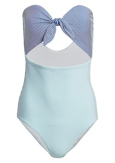 Onia Marie Striped Cutout One-Piece Swimsuit