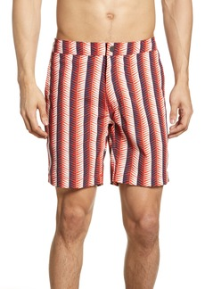Onia Calder Geo Stripe Swim Trunks