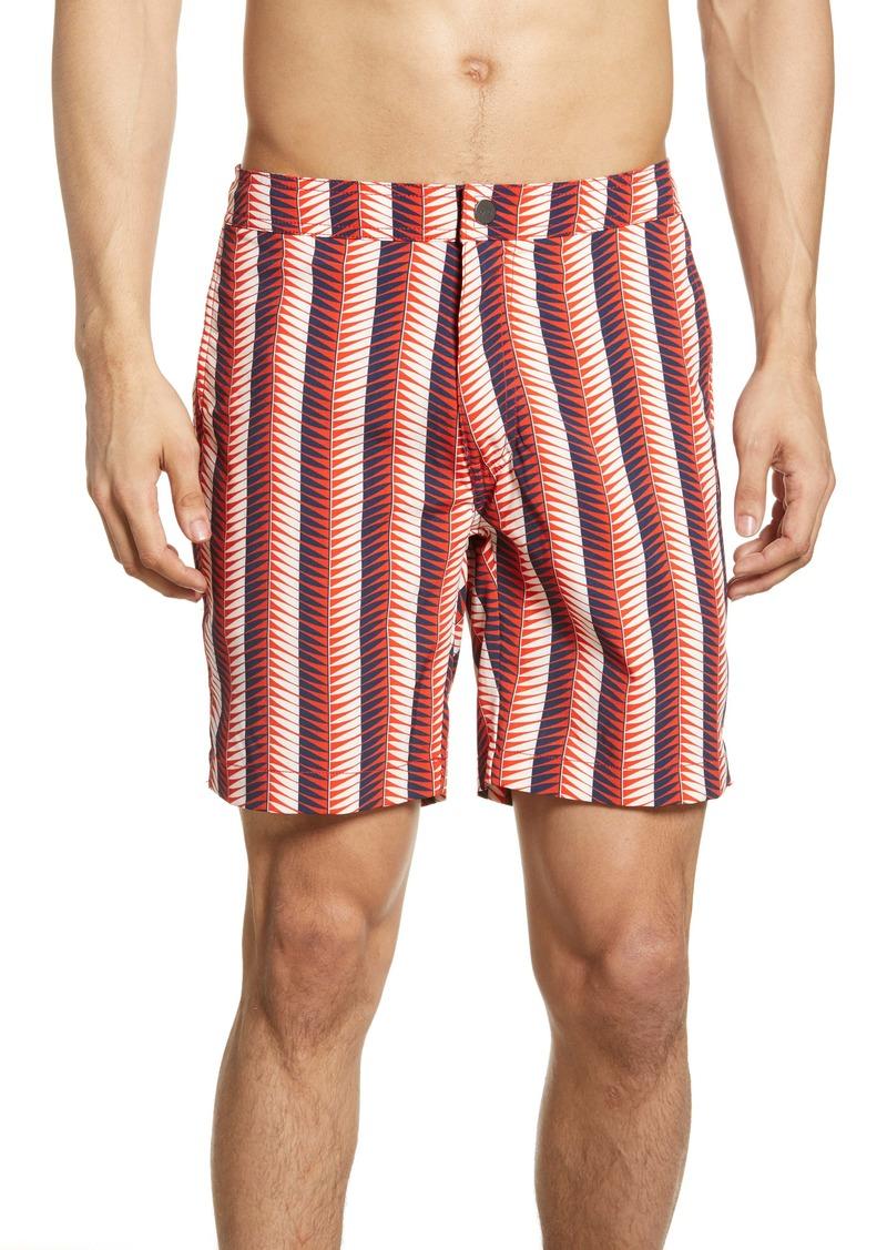 Onia Calder Geo Stripe Swim Trunks