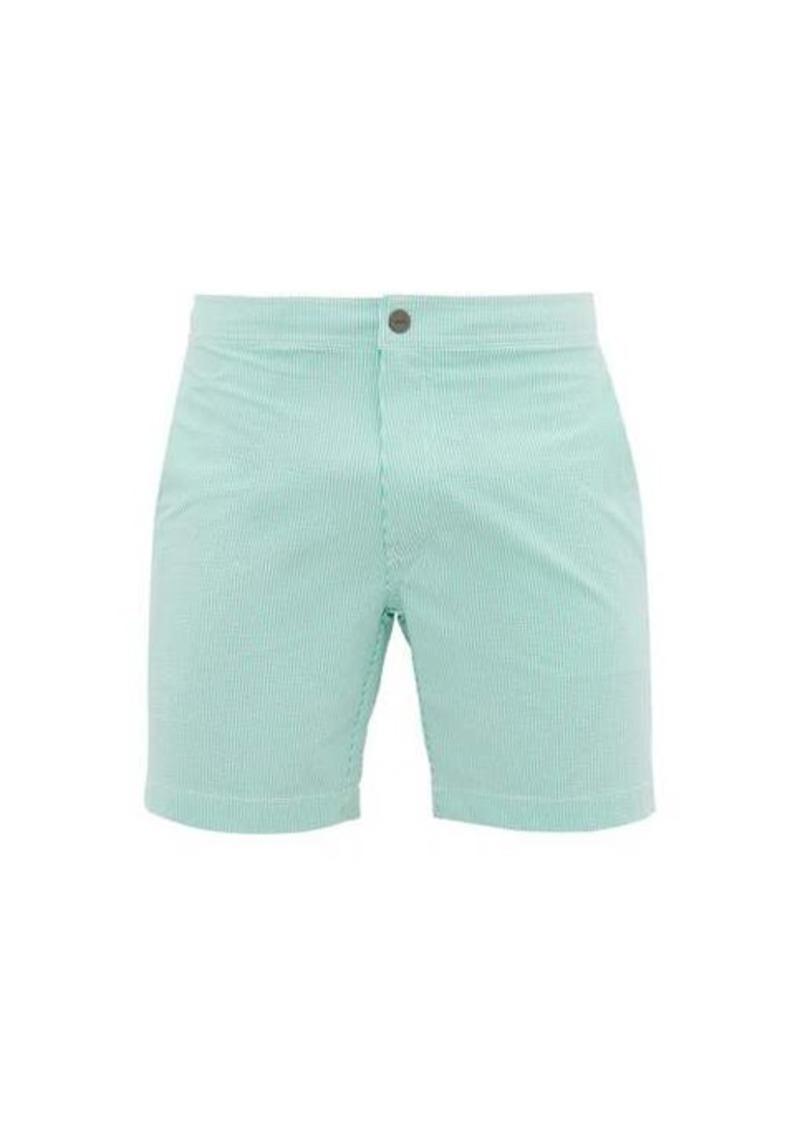 Onia Calder pinstriped seersucker swim shorts