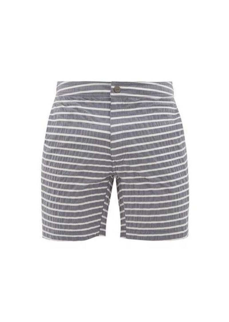 Onia Calder striped seersucker swim shorts