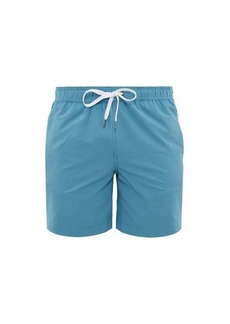 Onia Charles striped technical-seersucker swim shorts