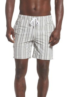 Onia Charles Surf Stripe Seersucker Swim Trunks