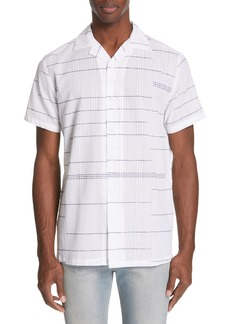 Onia Embroidered Stripe Woven Shirt
