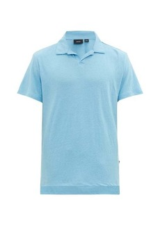 Onia Shaun open-collar linen-blend polo shirt