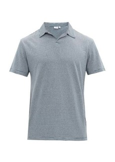 Onia Shaun striped open-collar linen-blend polo shirt