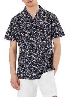 Onia Short Sleeve Button Up Fish Print Camp Shirt