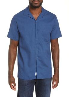 Onia Short Sleeve Button-Up Linen Blend Vacation Shirt