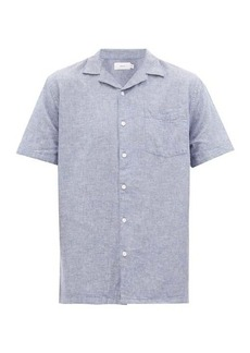 Onia Vacation Cuban-collar linen-blend chambray shirt