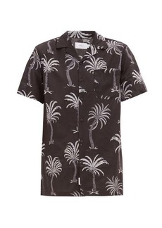 Onia Vacation Cuban-collar palm-print modal-blend shirt