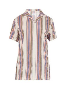 Onia Vacation striped short-sleeved shirt