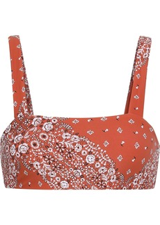 Onia Woman + We Wore What Rosy Floral-print Bikini Top Bright Orange