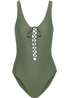 Onia Woman Bridget Lace-up Ribbed Swimsuit Army Green