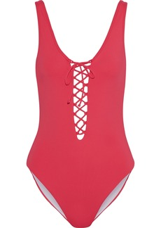 Onia Woman Bridget Lace-up Swimsuit Tomato Red