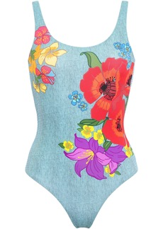 Onia Woman Kelly Floral-print Swimsuit Light Denim
