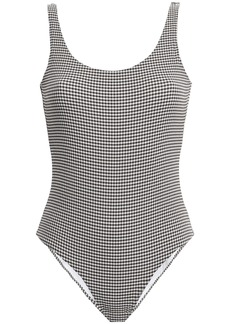 Onia Woman Kelly Gingham Seersucker Swimsuit Dark Brown