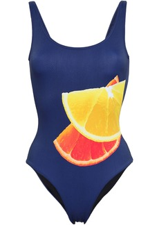 Onia Woman Kelly Printed Swimsuit Navy