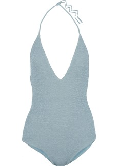 Onia Woman Nina Smocked Halterneck Swimsuit Sky Blue