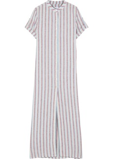 Onia Woman Renee Striped Linen-gauze Maxi Dress Light Blue