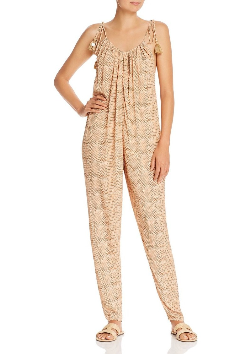 Onia x WeWoreWhat Kaia Snakeskin Plunge-Back Jumpsuit