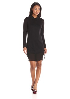 Only Hearts Women's Double Knit Shirt Dress with Chiffon
