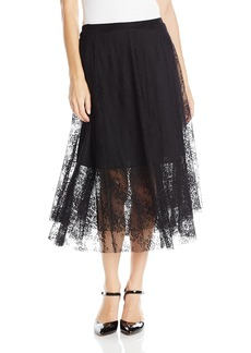 Only Hearts Women's Lattice Lace Gypsy Skirt Lined Black