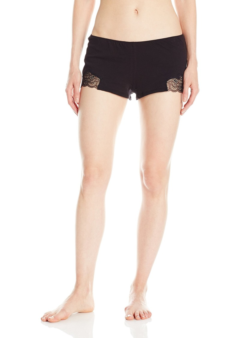 Only Hearts Women's Luxe Lace Organic Cotton Sleep Shorts Black