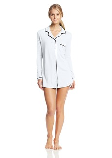 Only Hearts Women's Organic Cotton Piped Button Front Night Shirt