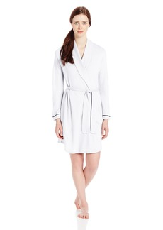 Only Hearts Women's Organic Cotton Piped Short Robe