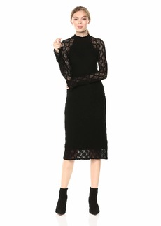 Only Hearts Women's Stretch Lace Mock Neck Dress  Extra Small