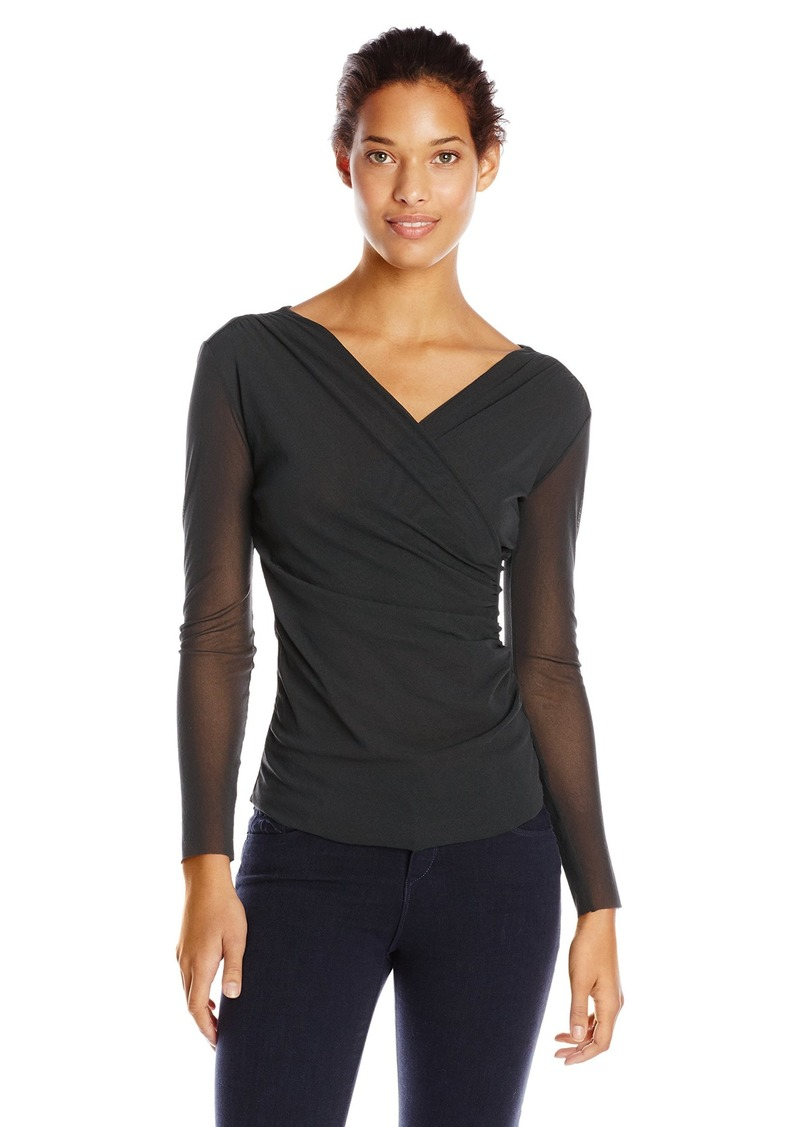 Only Hearts Women's Tulle 2 Body 1 Ply Sleeve Surplus Wrap Top