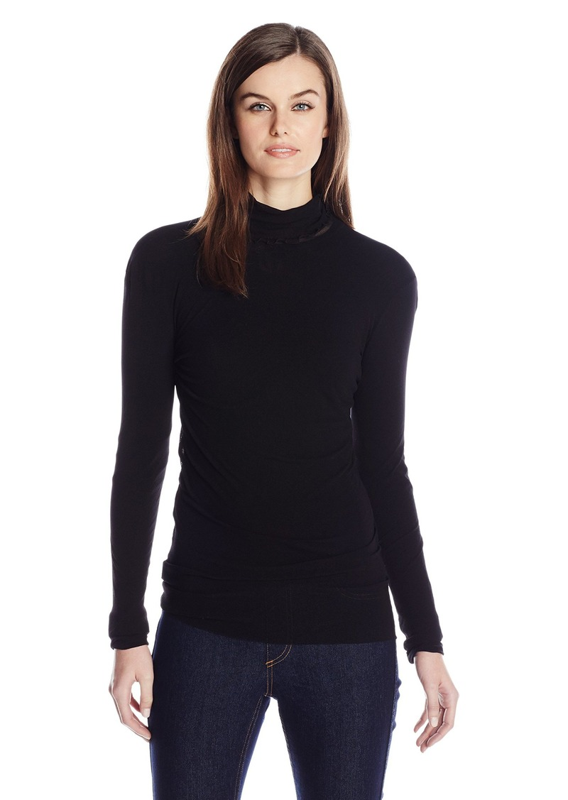 Only Hearts Women's Tulle Long Sleeve Pearled Neck 1 Ply  ML