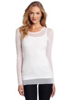 Only Hearts Women's Tulle One Ply Long Sleeve Crew Neck Top  Medium/Large