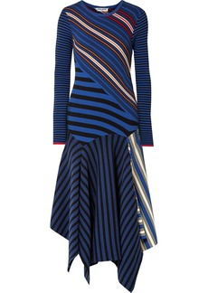 Opening Ceremony Asymmetric Striped Cotton-blend Midi Dress
