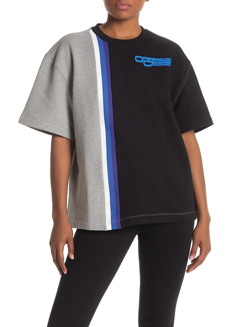 Opening Ceremony Colorblock Stripe Logo T-Shirt