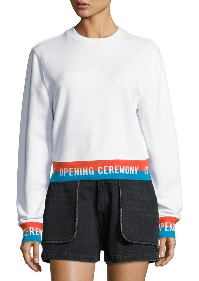 Opening Ceremony Crewneck Jersey Elastic-Logo Pullover Sweatshirt  White