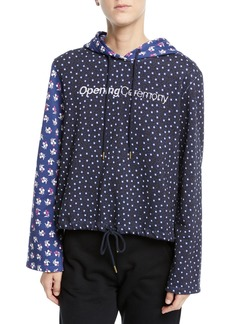 Opening Ceremony Cropped Floral-Print Cotton Logo Hoodie