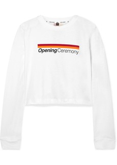 Opening Ceremony Cropped Printed Cotton-jersey Top