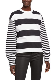 Opening Ceremony Cropped Striped Crewneck Sweatshirt