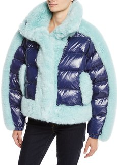 Opening Ceremony Daydreamer Puffer Jacket w/ Faux Fur Trim