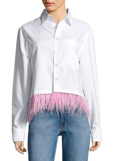 Opening Ceremony Feather-Trimmed Oxford Cotton Shirt