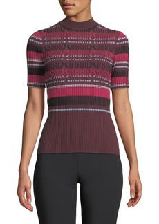Opening Ceremony Fitted Ribbed Short-Sleeve Striped Top