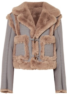 Opening Ceremony Insomniac Reversible Faux Fur And Houndstooth Cotton-blend Jacket