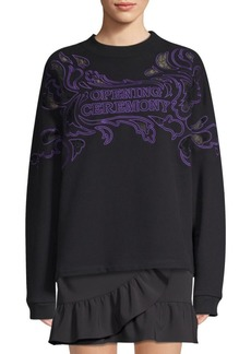 Opening Ceremony Lace Appliqué Cotton Sweatshirt