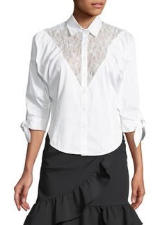 Opening Ceremony Lace-Yoke Sateen Button-Down Shirt