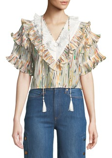 Opening Ceremony Marble Ruffle Cropped Blouse
