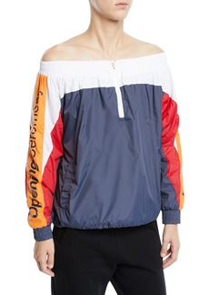 Opening Ceremony Off-Shoulder Colorblock Track Jacket
